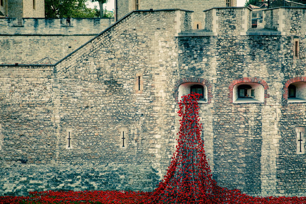 Memorial red poppies at Tower of London