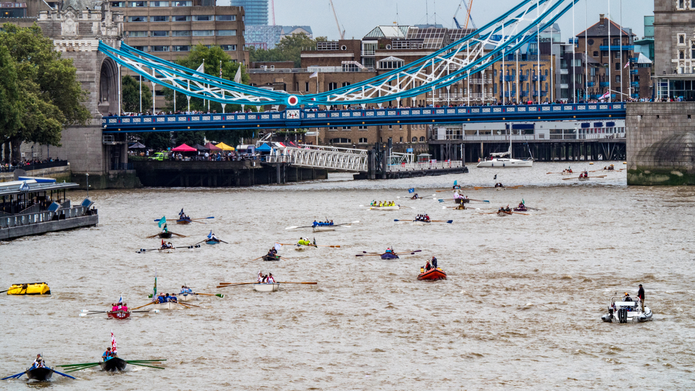 Thames river race at Tower bridge in London